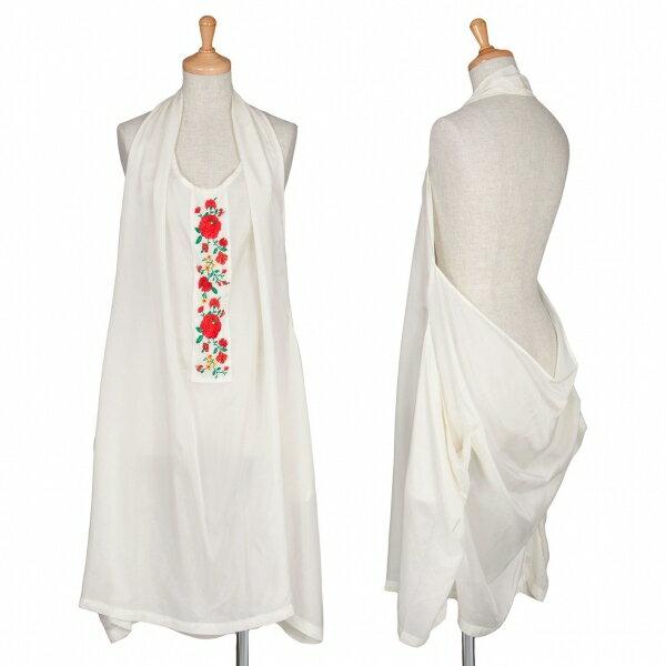 【SALE】ズッカzucca キュプラ花柄刺繍ホルターネックワンピース オフホワイトM【レディース】