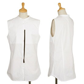 【SALE】ニールバレットNEIL BARRETT バンドカラーノースリーブシャツ 白黒42【中古】 【レディース】