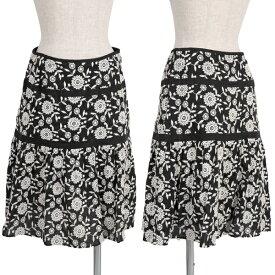 【BIG SALE】トッカTOCCA コットンボタニカル刺繍スカート 白黒1