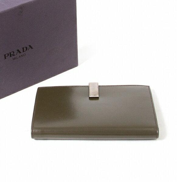 プラダPRADA M704 VITELLO 二つ折り財布 カーキ【中古】