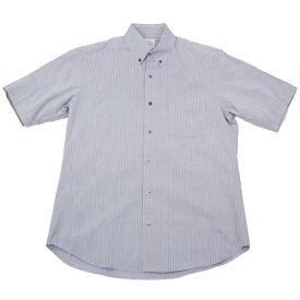 【BIG SALE】ヨウジヤマモト コスチュームドオムYohji Yamamoto COSTUME D'HOMME コットンシルクストライプ半袖ボタンダウンシャツ グレー白M位