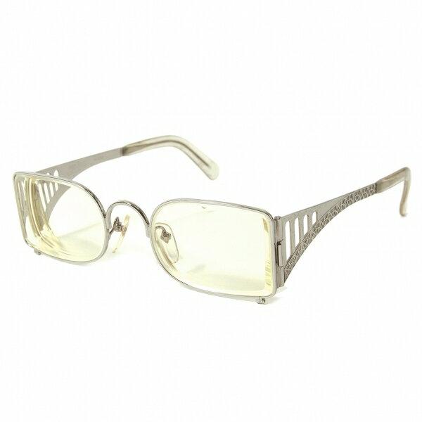 ジャンポールゴルチエJean Paul GAULTIER 56-0107 スチールデザインメガネ眼鏡 度入りイエローレンズ シルバー50□21 134【中古】【メンズ】