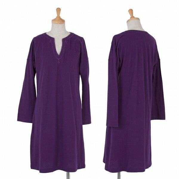【SALE】ズッカ zucca 製品洗いネック刺繍天竺ワンピース 紫M【レディース】