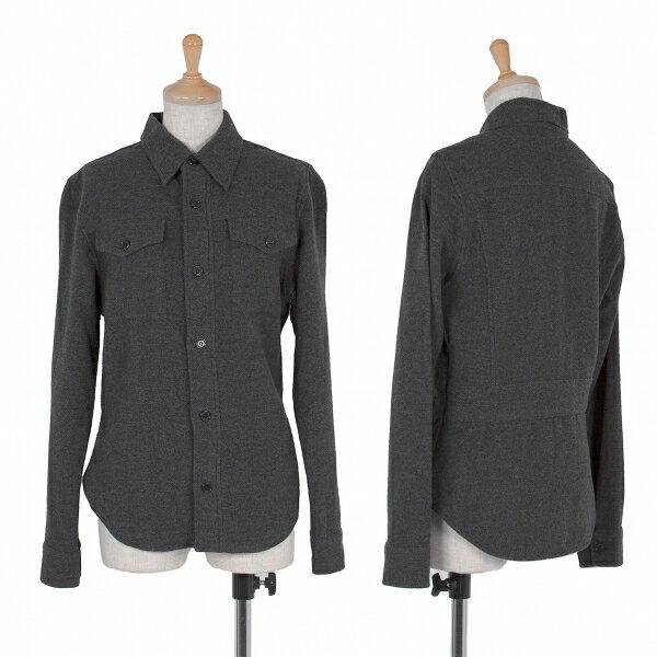 【SALE】ズッカ zucca 両胸ポケットウールシャツ 杢グレーM【レディース】
