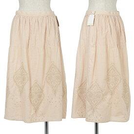 【BIG SALE】マドモアゼルノンノンMademoiselle NON NON edition コットンリネン刺繍デザインスカート サーモンピンクL