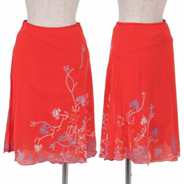 ヴィヴィアンタムVIVIENNETAM フラワーエンブロイパワーネットスカート 赤0【中古】 【レディース】