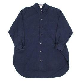 【SALE】ヨウジヤマモト プールオムYohji Yamamoto POUR HOMME タック衿デザインコットンロングシャツ 紺M【中古】 【メンズ】