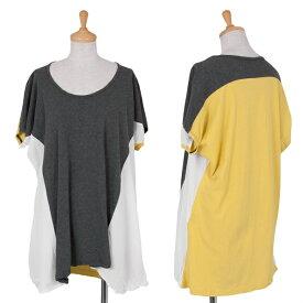 ワイズY's パネル切り替え配色Tシャツ グレー黄色白2【中古】 【レディース】