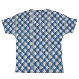 【SALE】イッセイミヤケメンISSEY MIYAKE MEN プリントプリーツTシャツ 青グレー2【中古】 【メンズ】