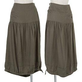 ワイズY's レーヨンギャザー切替裾絞りスカート カーキ2【中古】 【レディース】