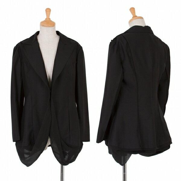 新品ですが…!ヨウジヤマモト ファムYohji Yamamoto FEMME 裾シフォンダーツ1Bジャケット 黒1【中古】