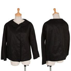 ドレステリアDRESSTERIOR コットンリネンラウンドカラー1Bジャケット 黒40【中古】 【レディース】