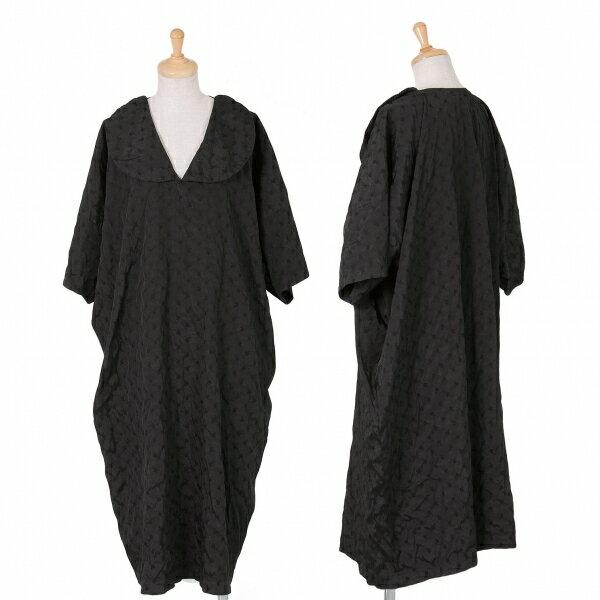 コムコム コムデギャルソンCOMME des GARCONS ポリ製品染め刺繍ワンピース 黒S【中古】