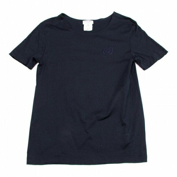 クリスチャンディオールChristian Dior コットンロゴ刺繍Tシャツ 紺L【中古】