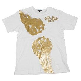 コムデギャルソンオムプリュスCOMME des GARCONS HOMME PLUS ゴールデンボーイ箔プリントTシャツ 白ゴールドS【中古】 【メンズ】
