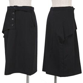 ワイズY's ウールギャバハーフラップスカート 濃紺M位【中古】 【レディース】