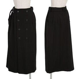 ワイズY's ダブルブレストコートデザインウールストレッチスカート 黒M位【中古】 【レディース】