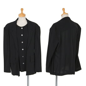 ワイズY's サマーウールレイヤードデザインジャケット 紺L位【中古】 【レディース】