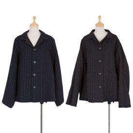 ワイズY's ウールストライプ裏チェックリバーシブルジャケット 黒青他M位【中古】 【レディース】