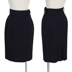 マーガレットハウエルMARGARET HOWELL ウールギャバ台形スカート 濃紺1【中古】 【レディース】