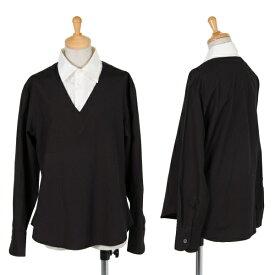 ワイズY's コットンレイヤードシャツ 黒白3【中古】 【レディース】