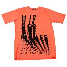 イッセイミヤケ メンISSEY MIYAKE MEN プリントTシャツ 蛍光オレンジ黒M位【中古】 【メンズ】