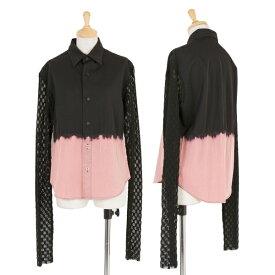 ワイズY's 袖レース切り替え絞り染めデザインシャツ 黒ピンク3【中古】 【レディース】