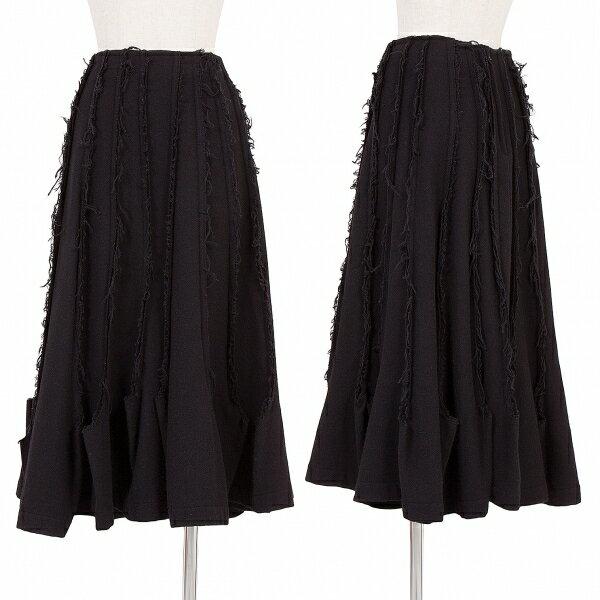 トリココムデギャルソンtricot COMME des GARCONS 製品染めウールナイロン断切ダーツデザインスカート 黒S【中古】