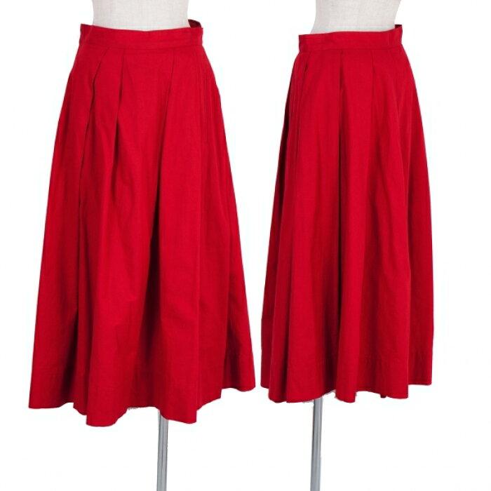 レギュレーション ヨウジヤマモトREGULATION yohji yamamoto リネンコットンプリーツスカート 赤1【中古】 【レディース】