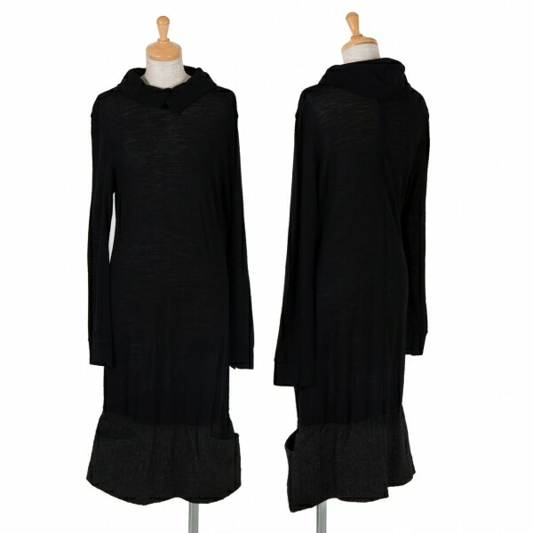 ヨウジヤマモト ノアールYohji Yamamoto NOIR 裾切替ウールワンピース 黒1【中古】【レディース】