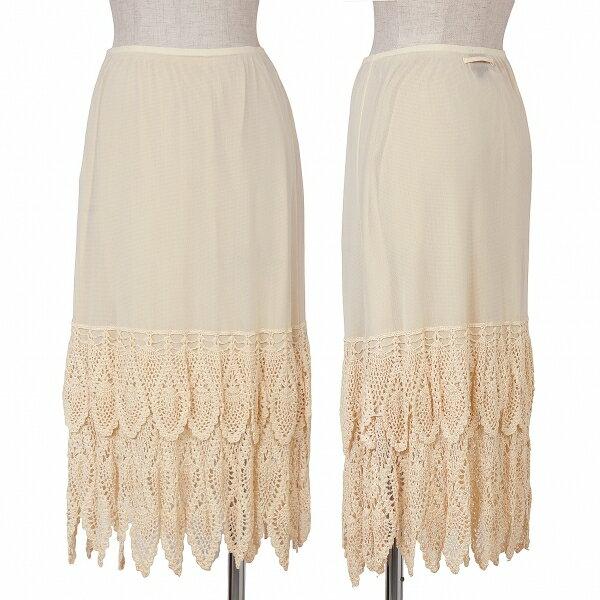 ジャンポールゴルチエJean Paul GAULTIER 裾編み切替パワーネットスカート ベージュ40【中古】