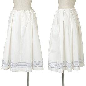 マーガレットハウエルMARGARET HOWELL 裾ストライプワイドスカート 白青2【中古】 【レディース】