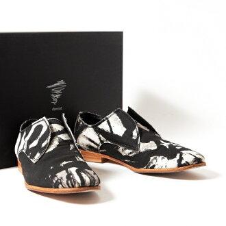 牙签Yamamoto日编码Yohji yamamoto discord图像帆布懒汉鞋黑白2(22.5位)