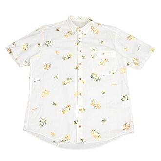 爸爸Papas花刺绣牛津按钮降低短袖衬衫白M