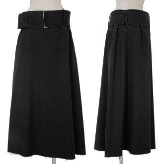 怀斯Y's羊毛宽大的皮带下摆切断裙子黑4