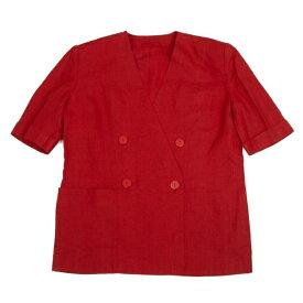 クリスチャンディオールChristian Dior ダブルブレストノーカラー半袖リネンジャケット 赤9【中古】 【レディース】