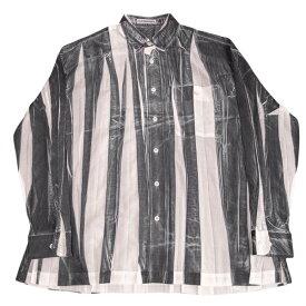 イッセイミヤケ メンISSEY MIYAKE MEN プリーツ型押しプリントシャツ 黒白M【中古】 【メンズ】