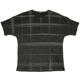 イッセイミヤケ メンISSEY MIYAKE MEN プリーツ型押しプリントドルマンTシャツ 深緑2【中古】 【メンズ】