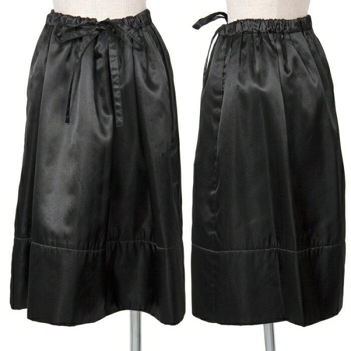 トリココムデギャルソンtricot COMME des GARCONS エステルサテンバックギャザースカート 黒M位【中古】 【レディース】