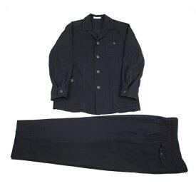 イッセイミヤケ メンISSEY MIYAKE MEN シワストライプコットンセットアップスーツ 紺L/XL【中古】 【メンズ】