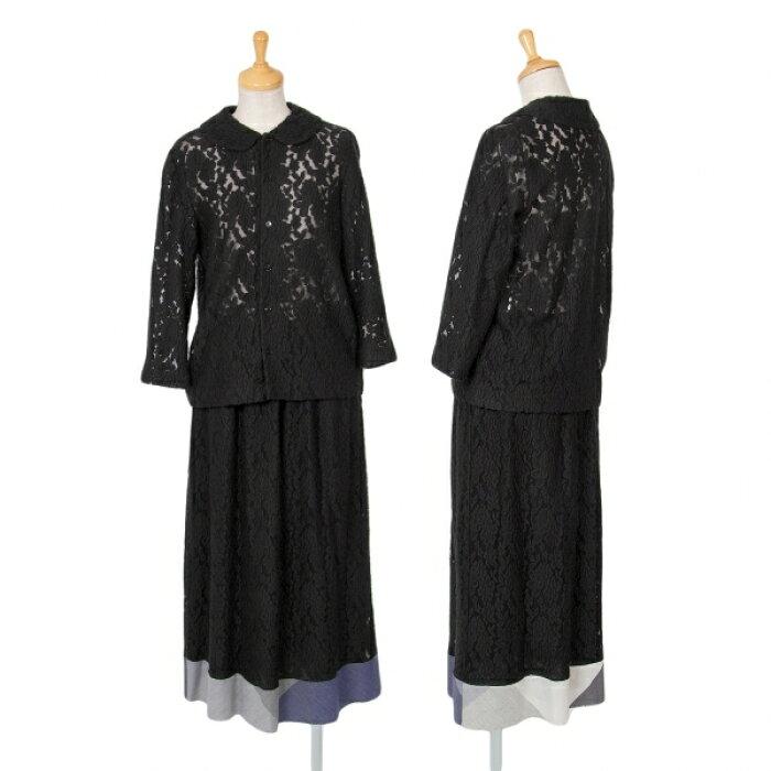 トリココムデギャルソンtricot COMME des GARCONS フローラル刺繍セットアップスーツ 黒グレーM位/M【中古】 【レディース】