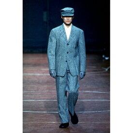 イッセイミヤケ メンISSEY MIYAKE MEN プリーツデザインツィード3Bセットアップスーツ 紺XL【中古】 【メンズ】