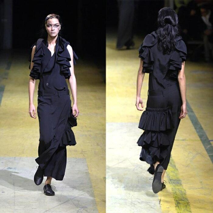 ヨウジヤマモト ファムYohji Yamamoto FEMME シルクラッフル装飾パンツスカート 黒1【中古】 【レディース】