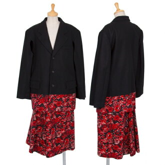 COMME des GARCONS Floral Printed Switched Jacket & Asymmetrical Skirt