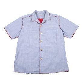 コムデギャルソン オムCOMME des GARCONS HOMME 裁ち切り貼り付けメッシュ半袖シャツ 水色赤M【中古】 【メンズ】