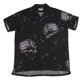 ヨウジヤマモト プールオムYohji Yamamoto POUR HOMME テンセルスカルプリント半袖シャツ 黒3【中古】 【メンズ】