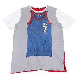 ジャンポールゴルチエJean Paul GAULTIER PARIS バスケットボールシャツ転写プリントTシャツ グレー白他L位【中古】 【メンズ】