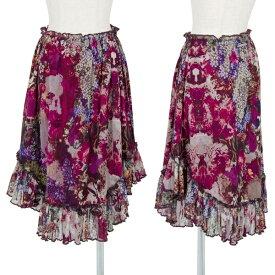 ジャンポールゴルチエ ファムJean Paul GAULTIER FEMME 裾フリル花柄パワーネットスカート 紫40【中古】 【レディース】