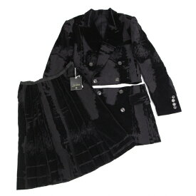 ジャンポールゴルチエ ファムJean Paul GAULTIER FEMME フロッキーカッティングセットアップスーツ 黒40【中古】 【レディース】