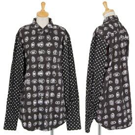 ブラックコムデギャルソンBLACK COMME des GARCONS ドット切替アイプリントシャツ 黒XL【中古】 【レディース】